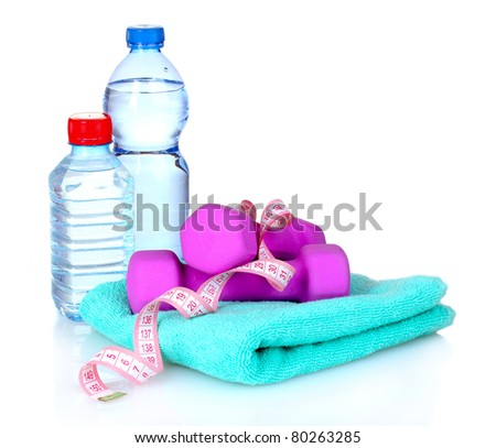 towel, dumbbells and water bottle isolated on white