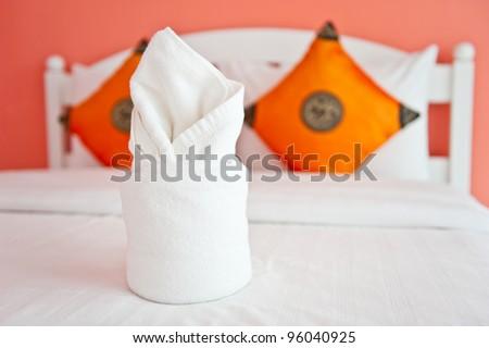 Towel in The Orange Bedroom - home interiors. - stock photo
