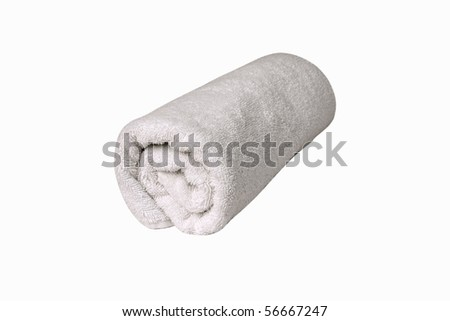 Towel Roll [with Clipping Path and isolated on white background] A single white towel rolled up, with clipping path & isolated on white background