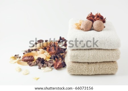 Towels and potpourri - stock photo