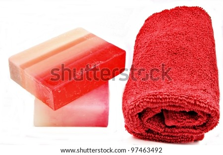 Towels and soap - stock photo