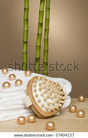 towels, bath pearls, massagepad and three bamboo sticks Stock fotó ©