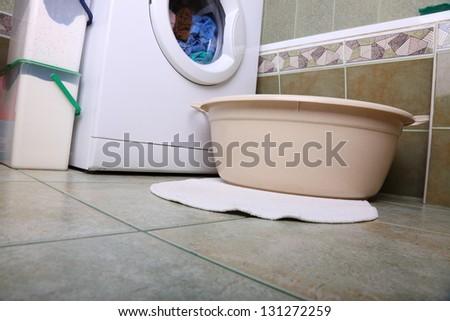 towels in washing machine cloths indoor bathroom