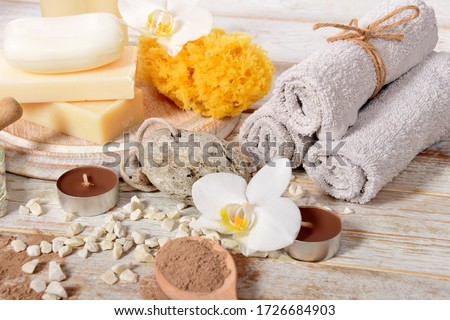 towels pumice, natural soap dry powder for making face masks, home spa Stockfoto ©