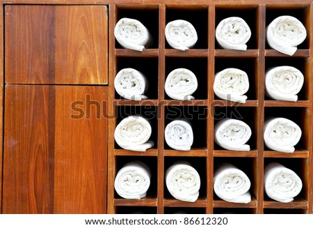 towels push in a custom locker room - stock photo