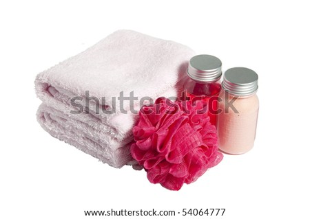 Towels, shampoo , sponge and lotion , isolated