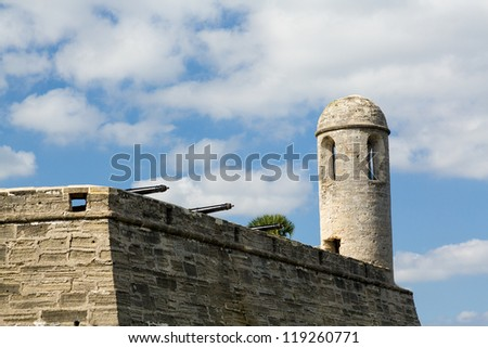 Tower and details of walls of Castillo de San Marcos in St Augustine Florida FL