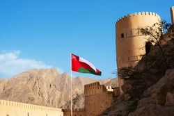 Tower and flag of Nakhal Fort (Oman)