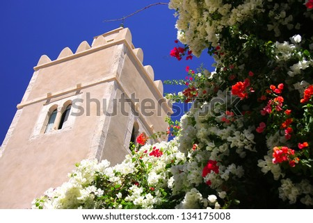 Tower and flowers in Sousse