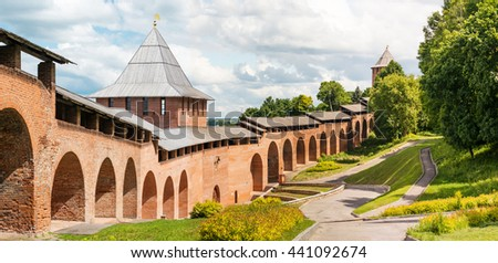 Tower and wall of middle ages fortress Kremlin in town Nizhniy Novgorod, Russia. Panorama Сток-фото ©