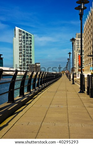 Tower block and riverside walk in Liverpool