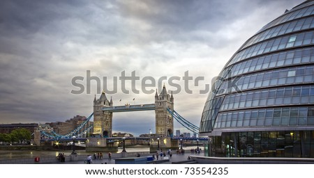 Tower Bridge and City Hall in the evening, London, UK