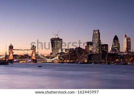 Tower Bridge and London skyline