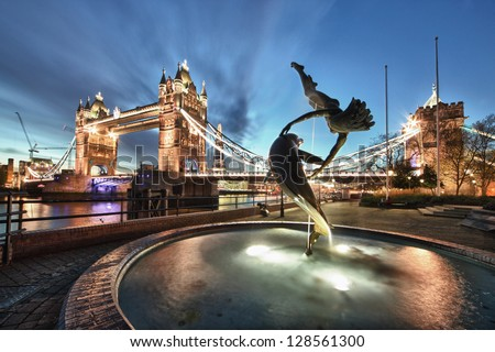 Tower Bridge and St Katharine Docks 'Girl with a dolpin' fountain