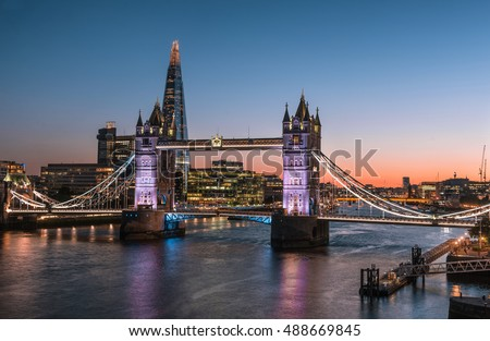 Tower Bridge and The Shard at dusk, London, England
