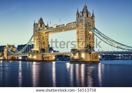 Tower Bridge at night. - stock photo