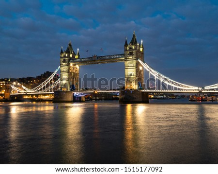 Tower Bridge at night illuminated by floodlights, London, England. #1515177092