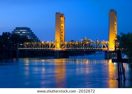 Tower Bridge at Night in Sacramento
