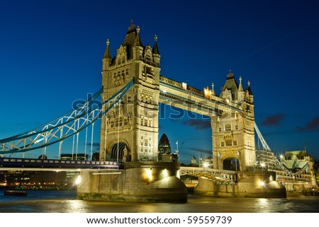 Tower Bridge at night, London, UK - stock photo