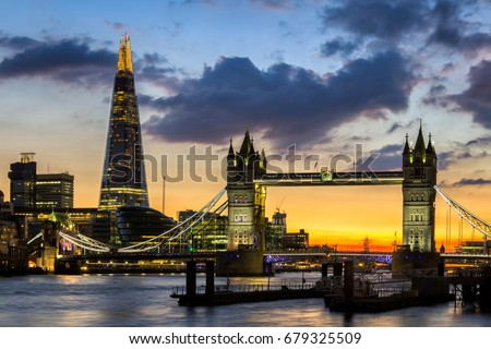 Tower Bridge at night, London, Uk.