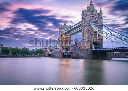 Tower bridge at sunrise  in London,England