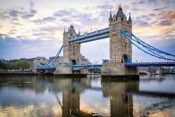 Tower Bridge at Sunset, London, United Kingdom.