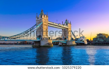 tower bridge at sunset with a...