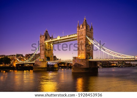 Tower Bridge by river thames  in London, england, UK