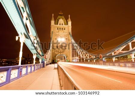 Tower Bridge England United Kingdom at Night - stock photo