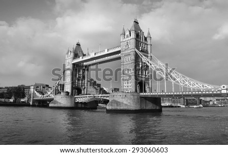 Tower Bridge in London - black and white photo