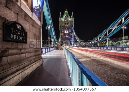Tower Bridge in London by night. The famous point of interest in UK.