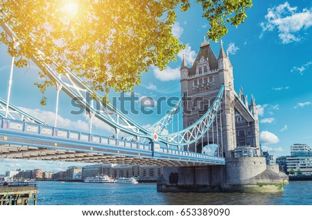 Tower Bridge in London in a beautiful summer day, England, United Kingdom #653389090