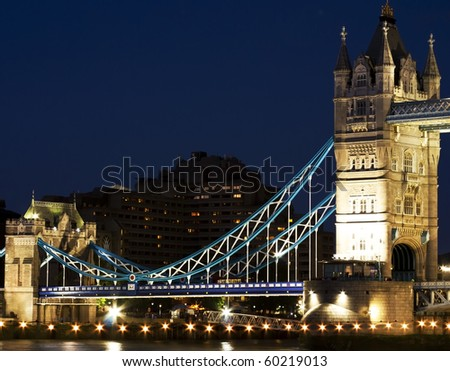 Tower Bridge in London. Photograph taken right after sunset. The bridge is fully lighten up