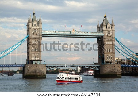 Tower Bridge in London. Tower Bridge is one of most recognizable bridges in world.