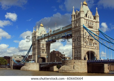 Tower Bridge in London, UK in a beautiful summer day