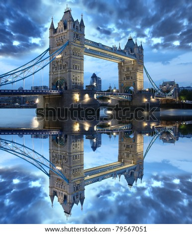 Tower Bridge in the beautiful evening, London, UK