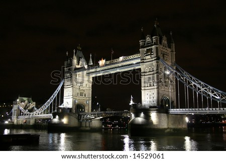 Tower bridge in the dark (London, UK)