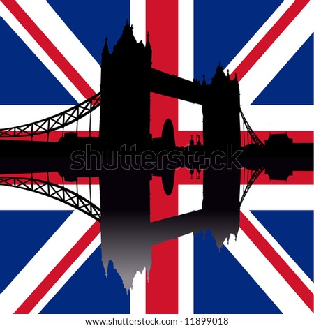 Tower Bridge London reflected against British Flag illustration JPG