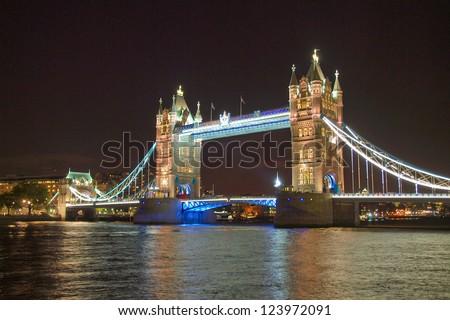 Tower Bridge on River Thames London UK - at night
