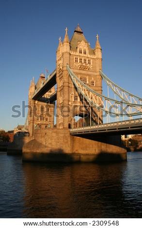 Tower Bridge over River Thames, London England at dusk