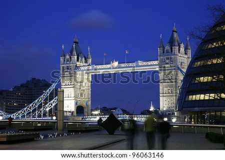 Tower Bridge seen from North Bank at night - stock photo