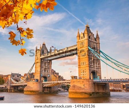 Shutterstock Tower bridge with autumn leaves, London
