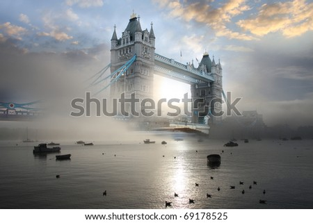 Stock Photo Tower Bridge with fog, London, UK