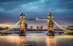 Tower Bridge withreflections in the thames at sunset