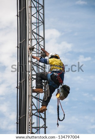 Tower climber the guyed tower cellular system. #134797004