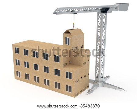 Tower crane building a house from cardboard boxes rendered with soft shadows on white background
