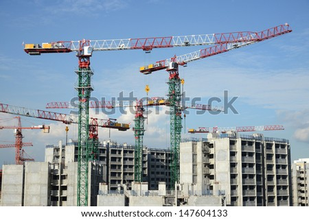 Tower Cranes At  Work Site #147604133