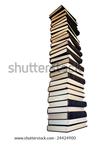 Tower from old books. Isolated on a white background