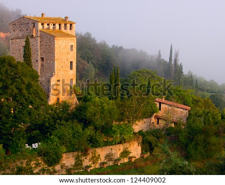 Tower in ancient Stigliano Castle, Tuscany, Italy. View from above.