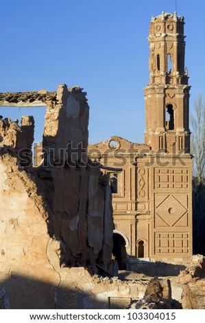 Tower in Belchite, Belchite village was destroyed in a bombing during the Spanish Civil War, Saragossa, Aragon, Spain